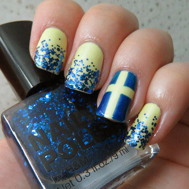 Sweden's National Day Nail art nail art by Emelie J