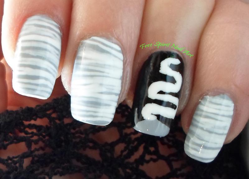 Bride of Frankenstein nail art by Free_Spirit_Nail_Art