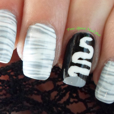 Bride of Frankenstein nail art by Free_Spirit_Nail_Art