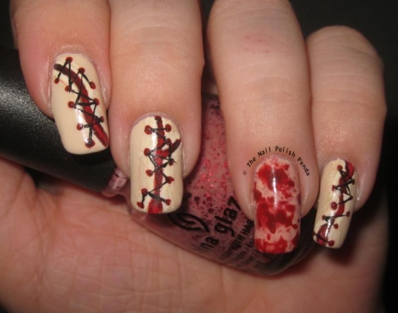Bloody Stitches nail art by Lynni V.