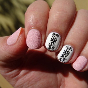Lace with pink sugar nail art by Nail Crazinesss