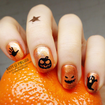 Simple Halloween Stamp nail art by Buff & Polish