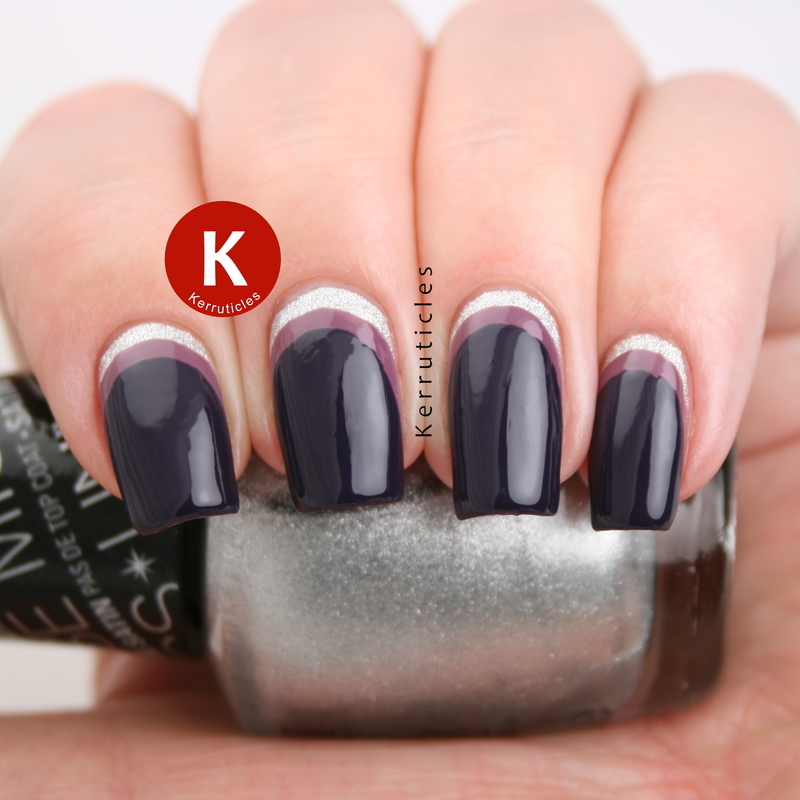 Silver and purple double ruffian nails nail art by Claire Kerr