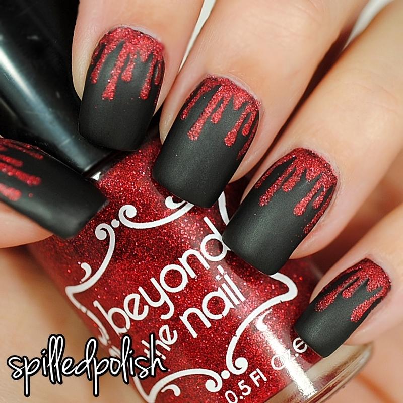 Matte Glitter Blood nail art by Maddy S