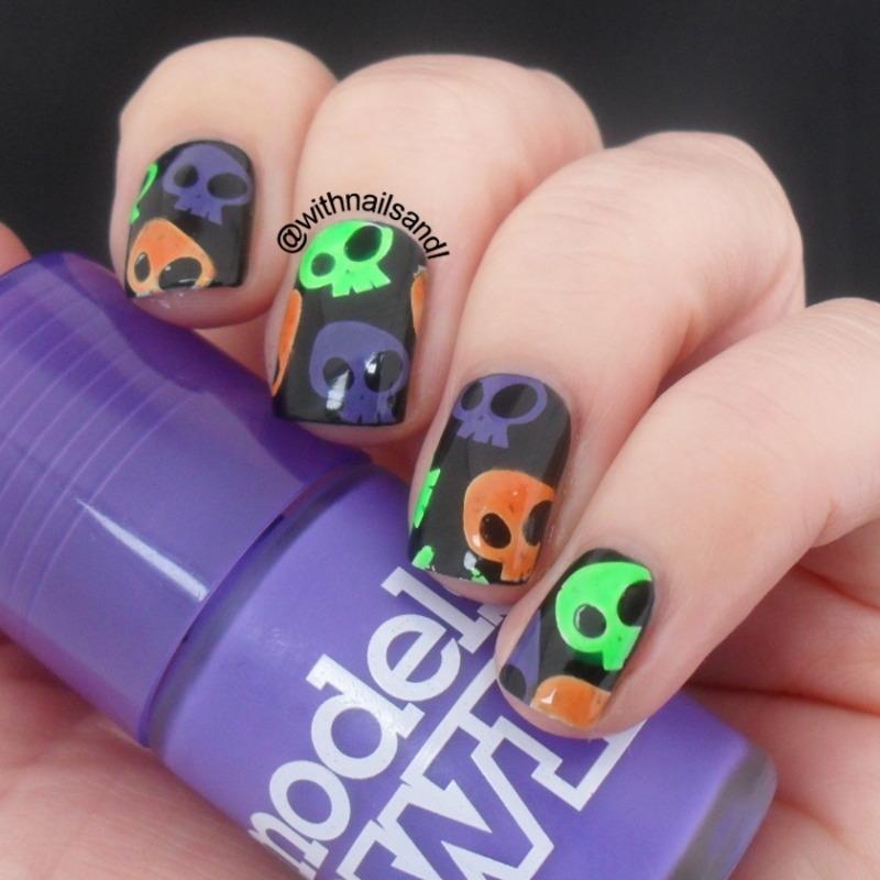 Neon Skulls nail art by WithnailsandI