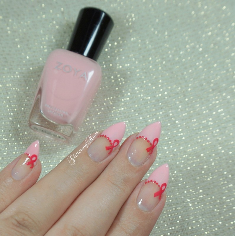 Simple breast cancer awareness nails nail art by Glittering Hues