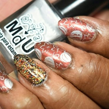 Pumpkins, Leaves, & Glitter - Stamping Saturdays #8 nail art by glamorousnails23