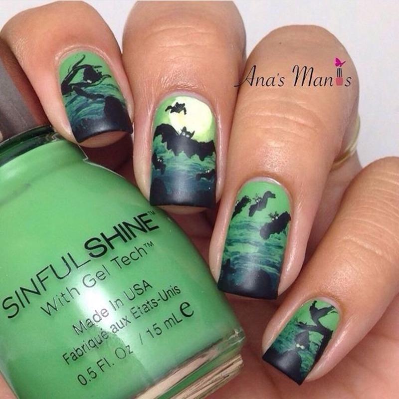 Halloween bats nail art by anas_manis