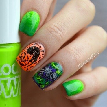 Cute Halloween  nail art by Furious Filer