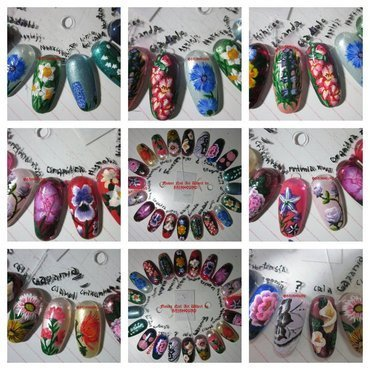 Flower Nail Art Wheel nail art by Rainwound