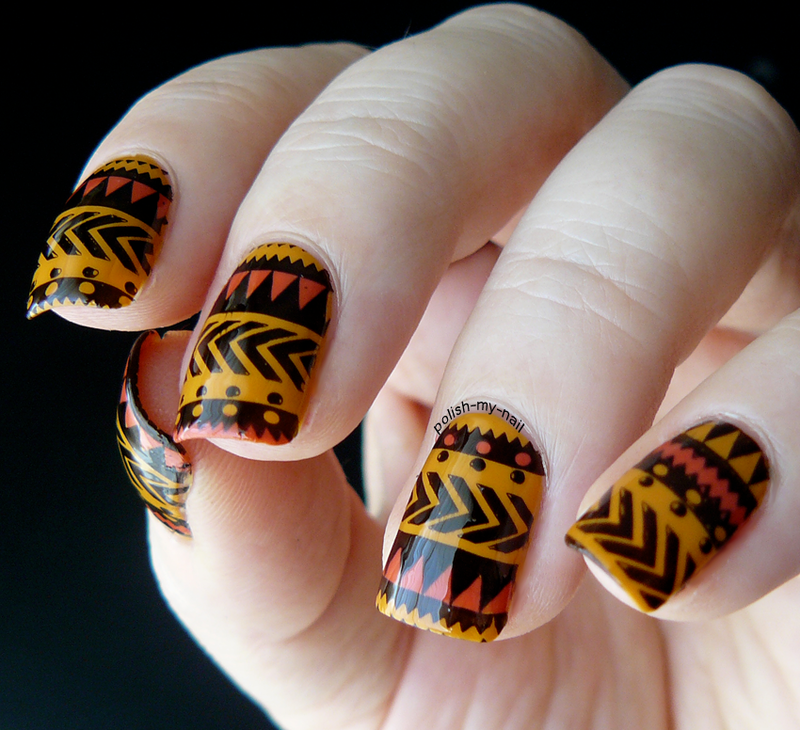 Aztec nails nail art by Ewlyn