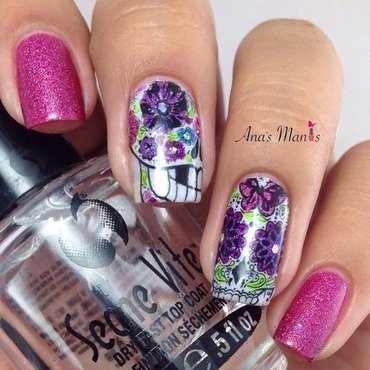 Day of the Dead sugar skulls nail art by anas_manis