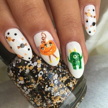 Friendly monsters  nail art by Massiel Pena