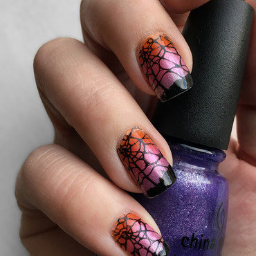 Spiderweb Stamped Nails nail art by Katie