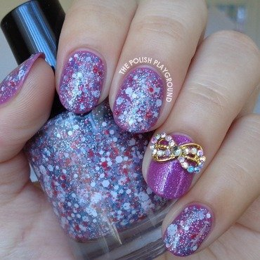 Purple and Glitter with Gold Bow Stud nail art by Lisa N