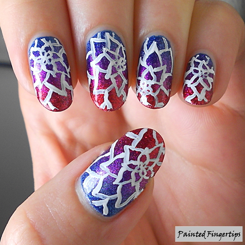 Floral over a gradient nail art by Kerry_Fingertips