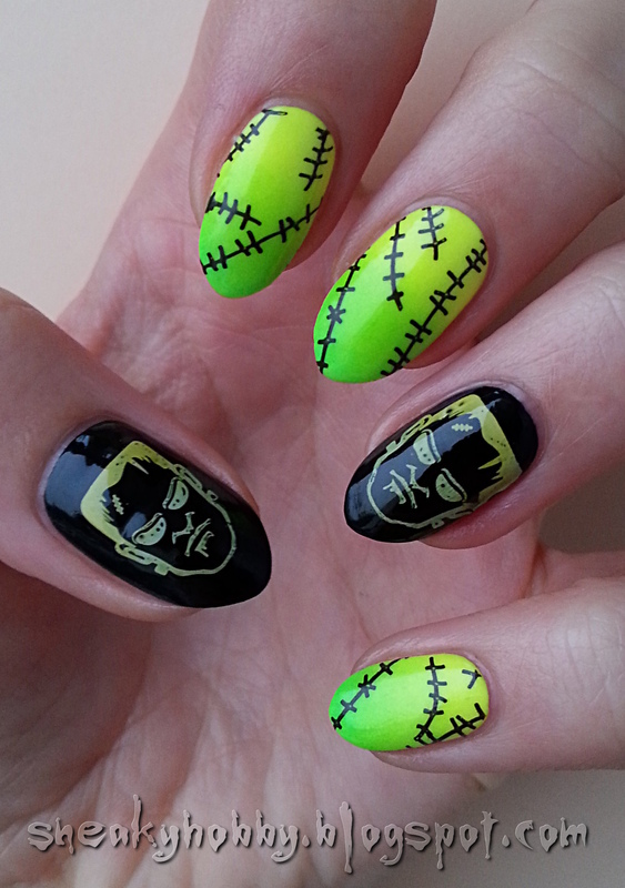 It's Alive!!! - Frankenstein Manicure nail art by Mgielka M