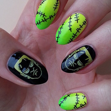 It's Alive!!! - Frankenstein Manicure nail art by Mgielka M
