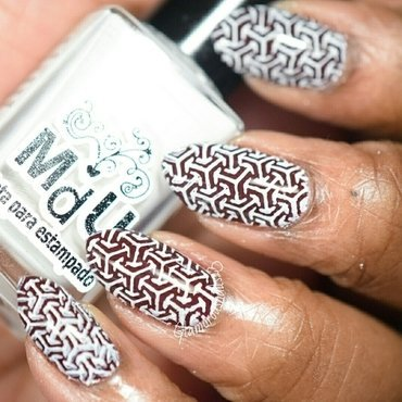 Chocolate Kisses & White - Stamping Saturdays #9 nail art by glamorousnails23
