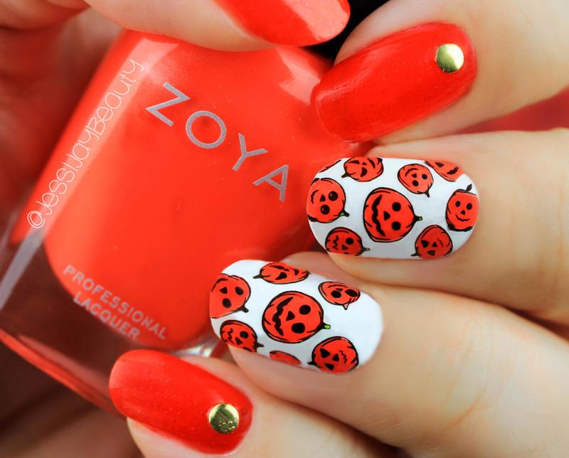 Pumpkin Nails nail art by Jessi Ossa