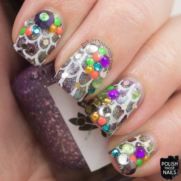 Purple green grungey mermaid rhinestone nail art 4 thumb370f