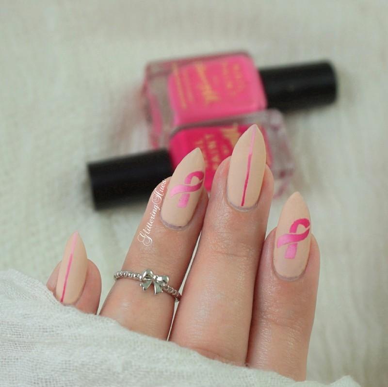 Minimal pink ribbon nails nail art by Glittering Hues