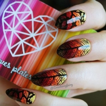Autumn leaves nail art by Cranberry Fairy