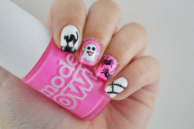 Girly halloween nails nail art by Julia