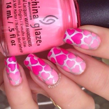 Matte hearts  nail art by Virginia