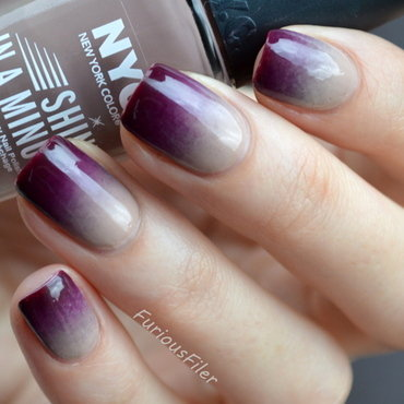 Beige to burgundy gradient  nail art by Furious Filer