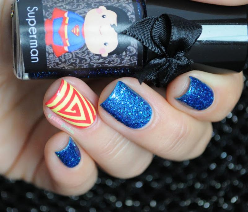 superman nail art by nathalie lapaillettefrondeuse