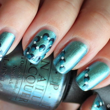 Teal with dots nail art by Polished Polyglot
