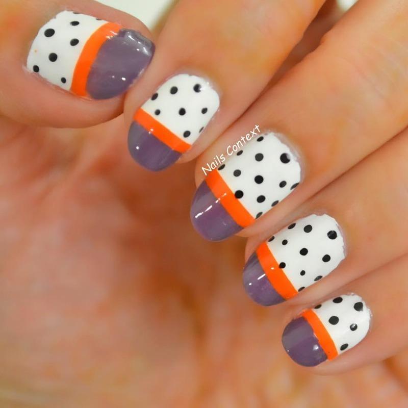 Halloween ColorBlocked Nails nail art by NailsContext