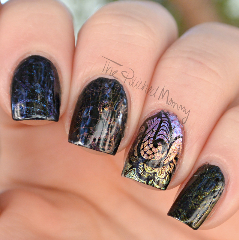 Sunsets & Lace nail art by The Polished Mommy
