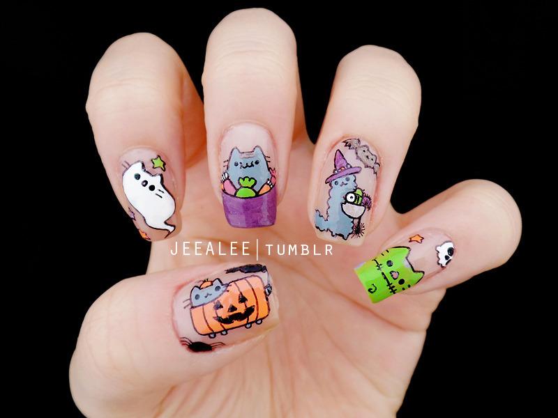 Pusheen Nails Pusheen Halloween Nails Nail Art By Jeea Lee