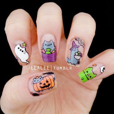 Pusheen Nails | Pusheen Halloween Nails nail art by JeeA Lee