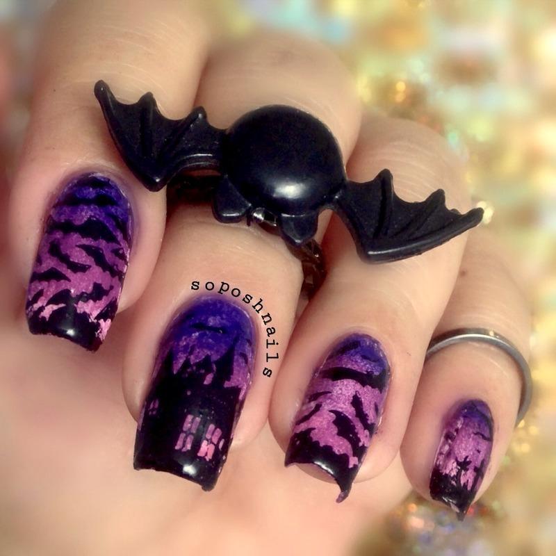 Spooky Bats nail art by Debbie