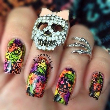 Sugar Skulls nail art by Debbie