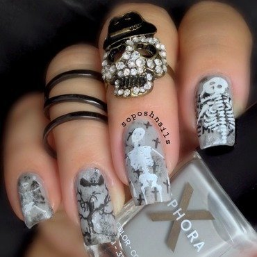 Skeletons  nail art by Debbie