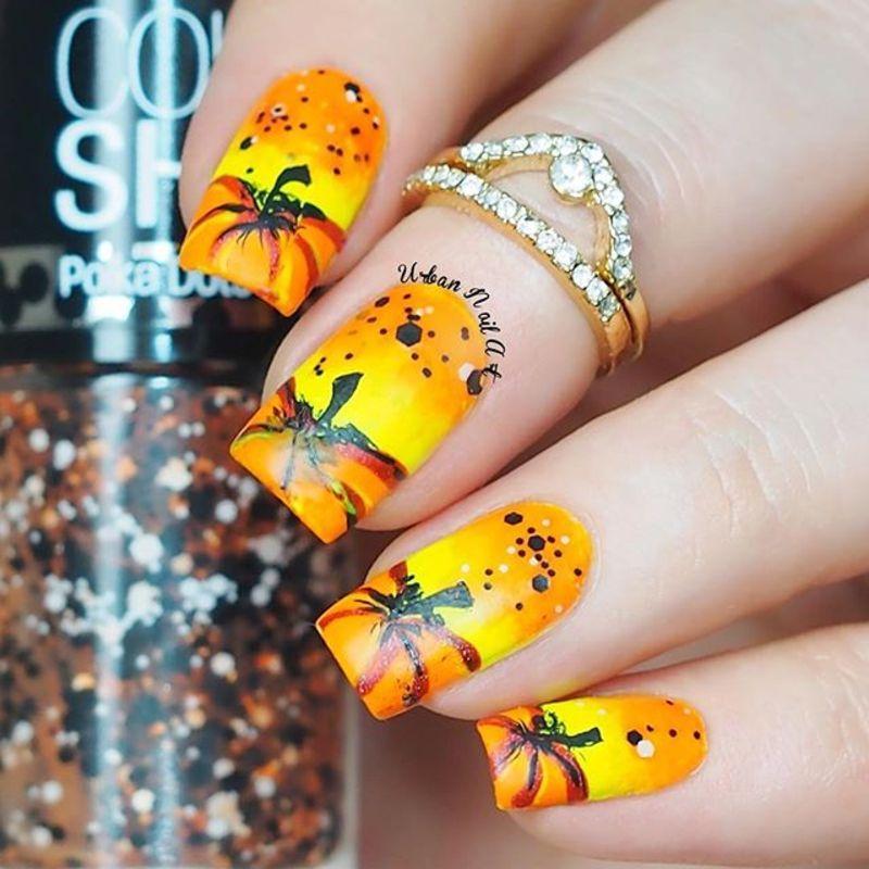 Bright Pumpkin Design nail art by Lou