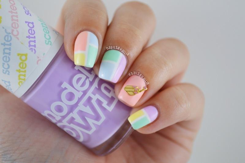 Color blocking nail art by Julia