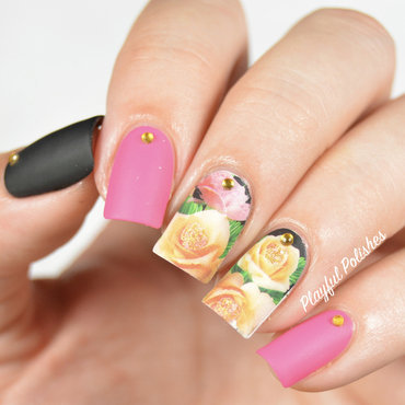 Lady Queen Floral Decals nail art by Playful Polishes