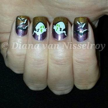 Halloween 2015 Ghosts nail art by Diana van Nisselroy