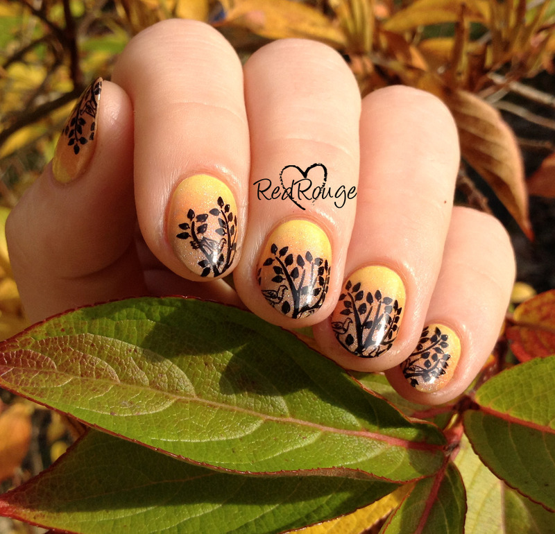 autumn trees nail art by RedRouge
