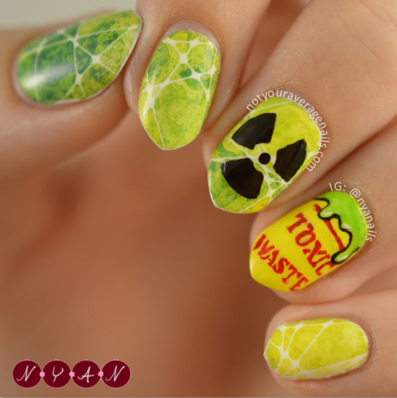 Toxic Waste nail art by Becca (nyanails)