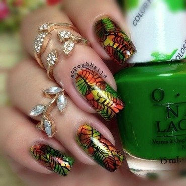 Fall Leaves nail art by Debbie