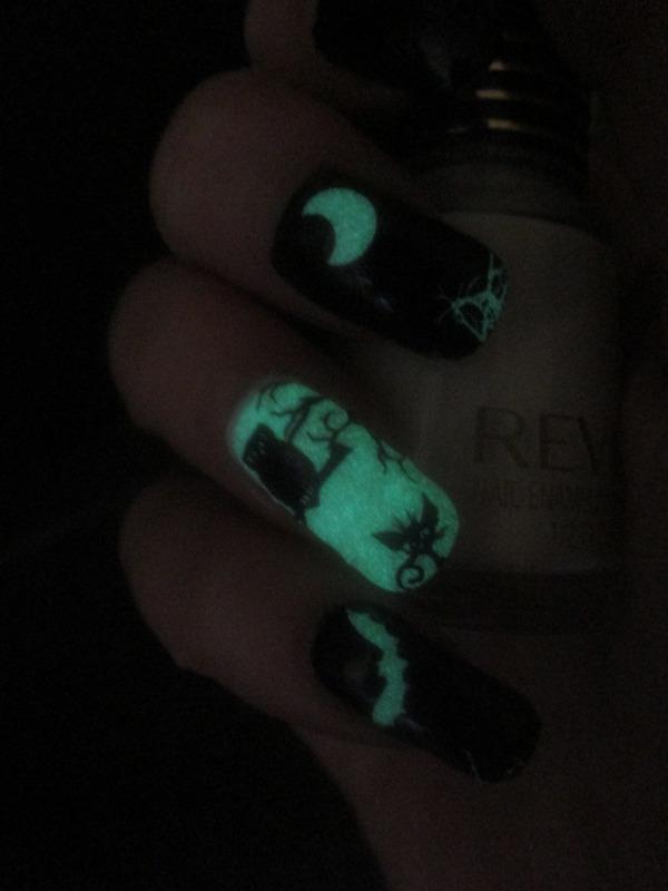 Glow in the Dark Halloween  nail art by NinaB