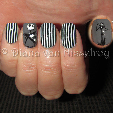 Jack Skellington nail art by Diana van Nisselroy