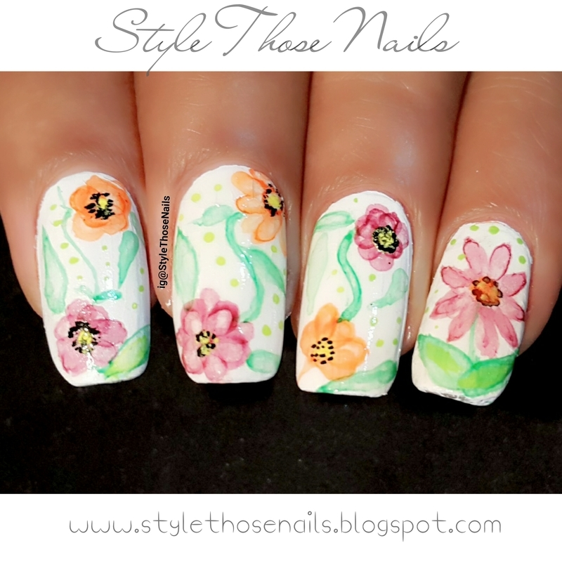 Watercolour floral Nails nail art by Anita Style Those Nails