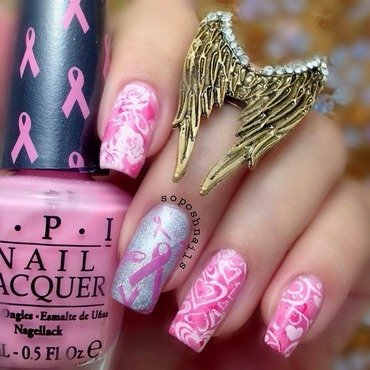 Pink Ribbon and Hearts nail art by Debbie